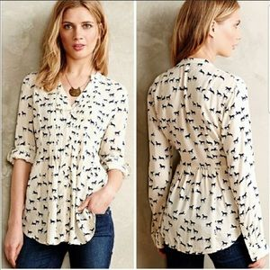 Anthropologie Horse Print Composed Pintuck Blouse